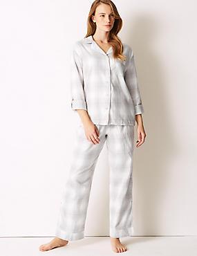 Checked Long Sleeve Pyjama Set, GREY MIX, catlanding