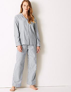 Striped Long Sleeve Pyjama Set , BLUE, catlanding