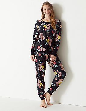 Cotton Rich Floral Print Pyjama Set, BLACK MIX, catlanding