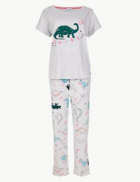 Cotton Rich Dino-Snore Print Pyjama Set