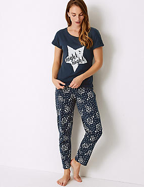 Pure Cotton Star Print Pyjama Set, NAVY MIX, catlanding