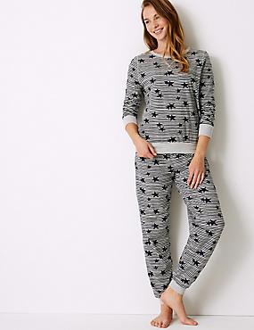Star Print Long Sleeve Pyjama Set, NAVY MIX, catlanding