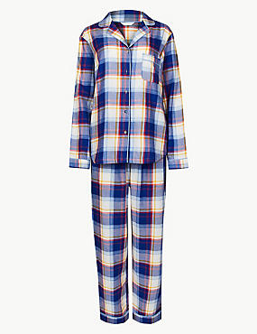 Pure Cotton Checked Long Sleeve Pyjama Set, MEDIUM BLUE MIX, catlanding