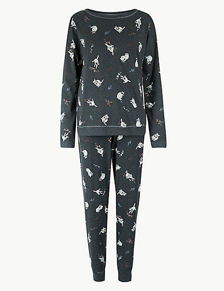 Cotton Rich Cat Print Pyjama Set