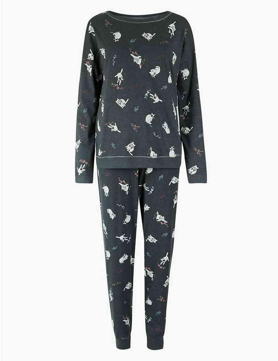 Cuffed Hem Cat Pyjama Set  a40e3a13b