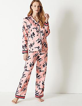 Satin Floral Print Pyjama set, PINK MIX, catlanding