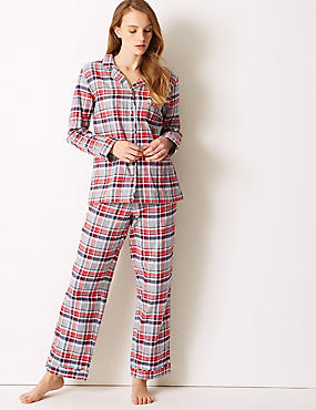 Pure Cotton Checked Long Sleeve Pyjama Set, GREY MIX, catlanding