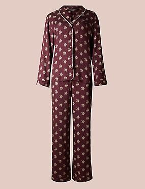 Floral Print Long Sleeve Pyjama Set, PURPLE MIX, catlanding