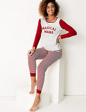 Magical Mama Long Sleeve Pyjama Set, GREY MIX, catlanding