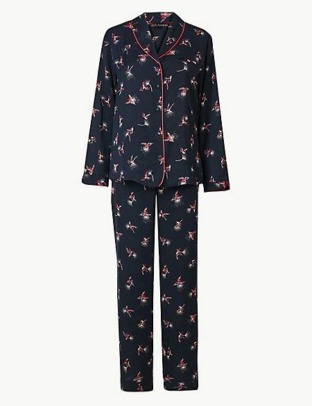 Satin Hummingbird Print Pyjama Set