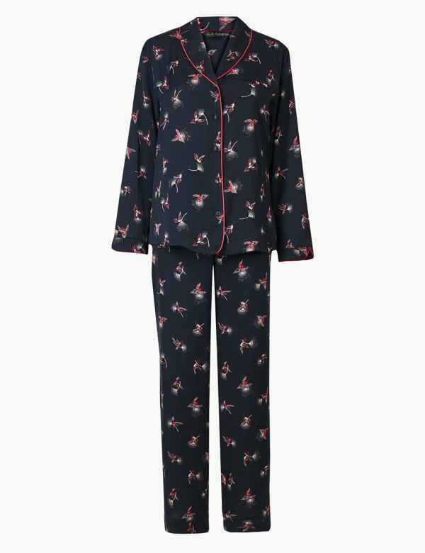 Satin Hummingbird Revere Collar Pyjama Set. Rosie for Autograph 0db4b8877