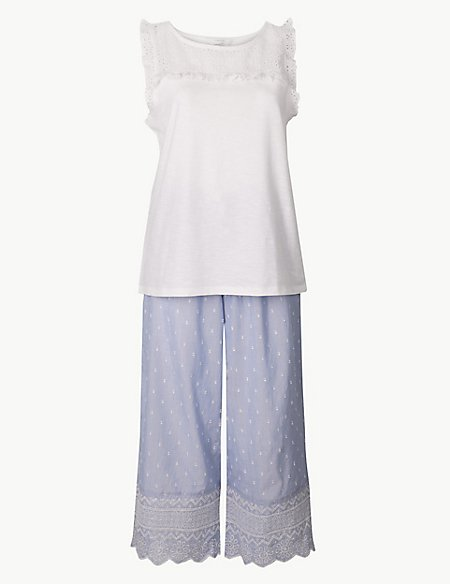 Pure Cotton Dobby Cropped Pyjama Set