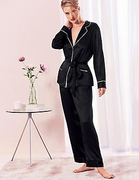 Pure Silk Long Sleeve Pyjama Set , BLACK, catlanding