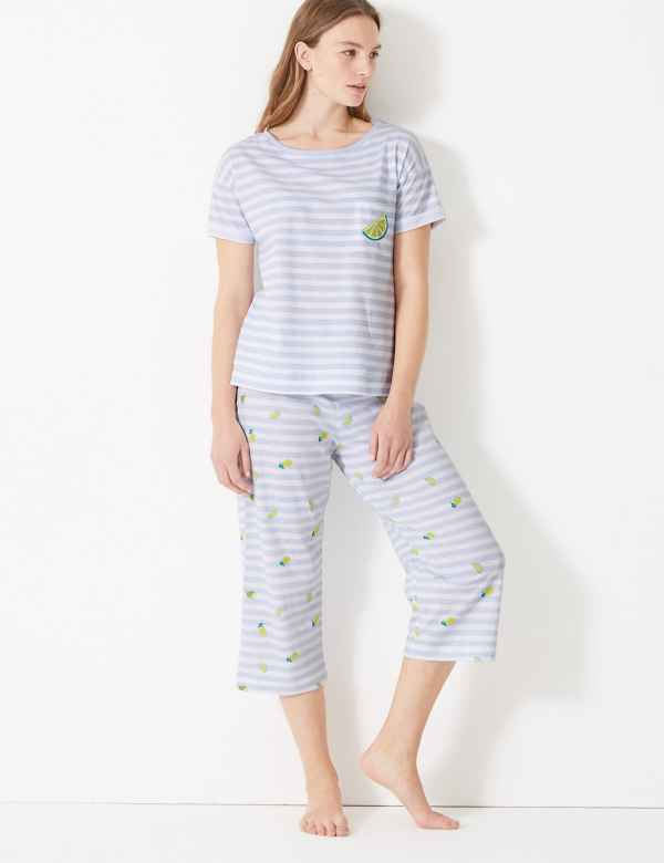 Pure Cotton Lime Cropped Pyjama Set. M S Collection 5226dc757