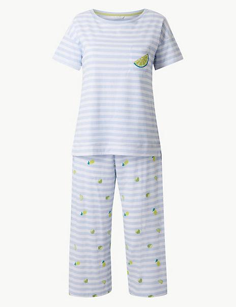 Pure Cotton Lime Cropped Pyjama Set