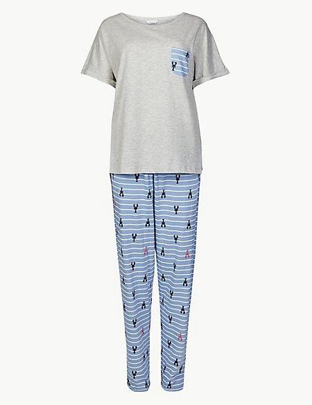 Lobster Print Short Sleeve Pyjama Set