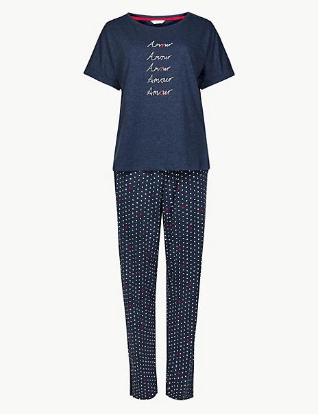 Amour Slogan Short Sleeve Pyjama Set