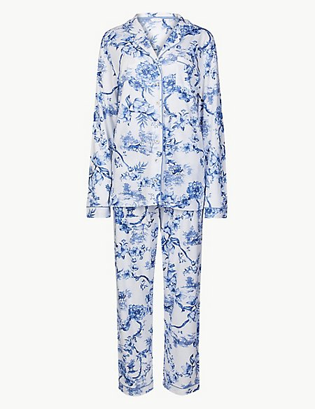 Cotton Blend Printed Long Sleeve Pyjama Set