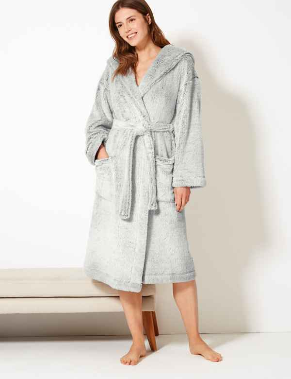 Womens Dressing Gown Luxury Silk Towelling