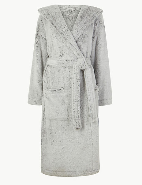 Long Pile Hooded Dressing Gown