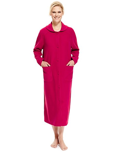 Button-Through Long Dressing Gown | M&S Collection | M&S