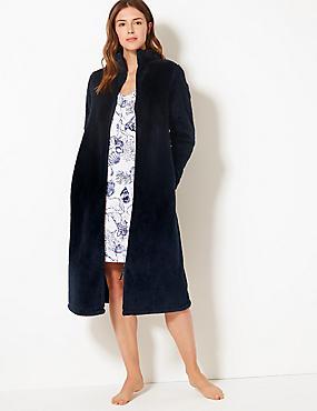 Fleece Zip Up Dressing Gown
