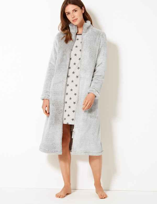 508d760d53fd Fleece Zip-up Dressing Gown