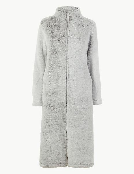 Fleece Zip-up Dressing Gown
