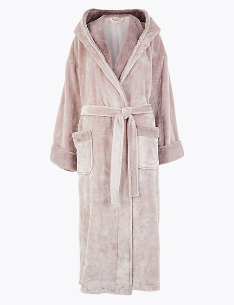 Fleece Faux Fur Trim Long Dressing Gown