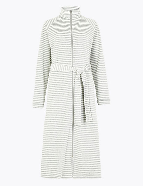 Velour Striped Long Dressing Gown