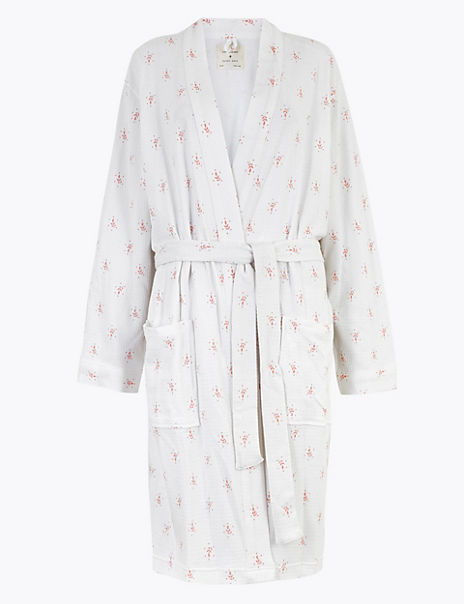 Cotton Waffle Leaf Print Dressing Gown