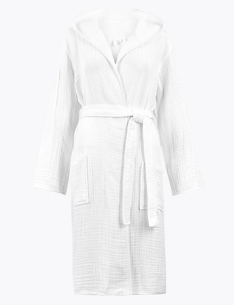Pure Cotton Muslin Dressing Gown