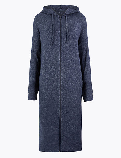 Cosy Knit Zip Through Dressing Gown