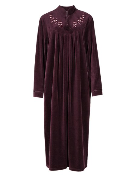 Cotton Rich Velour Zip Through Floral Embroidered Dressing Gown ...