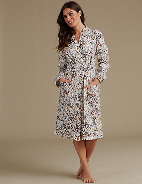 Pure Cotton Printed Waffle Dressing Gown