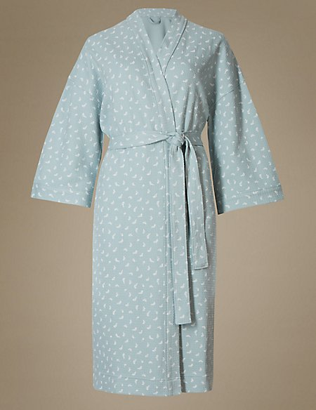 Pure Cotton Leaf Print Waffle Dressing Gown
