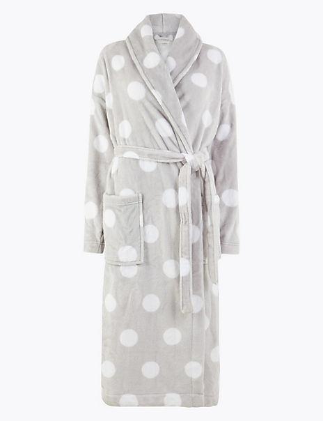 Fleece Polka Dot Dressing Gown with Belt