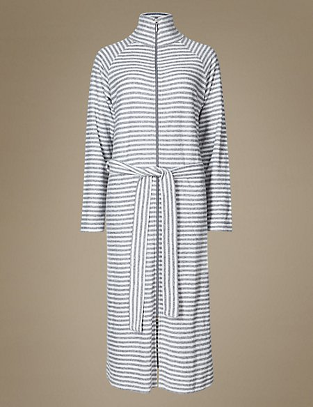 Striped Zipped Through Dressing Gown