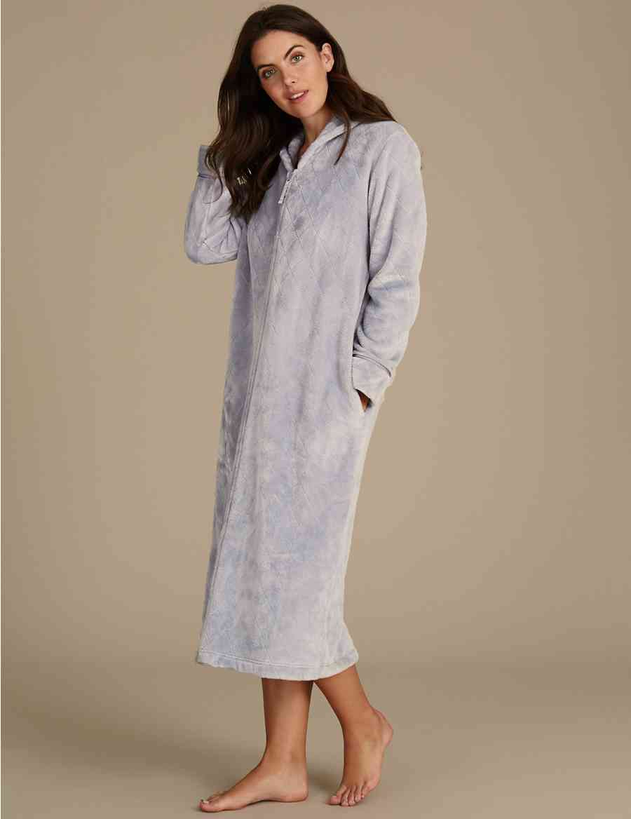 Shimmersoft Zipped Through Dressing Gown M S Collection 33054f5d8