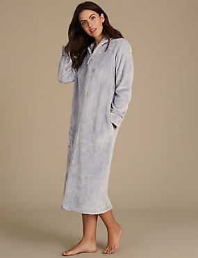 Shimmersoft™ Zipped Through Dressing Gown, SILVER, catlanding