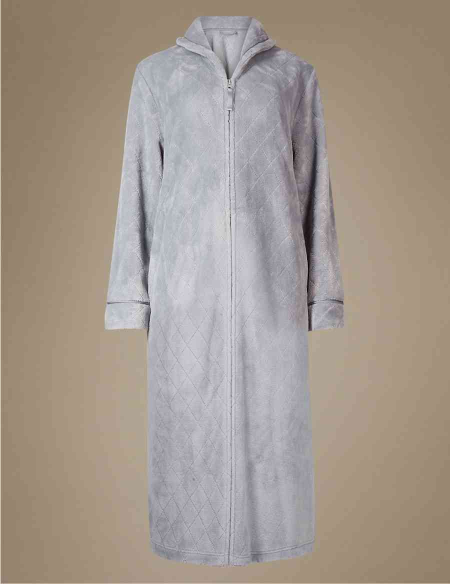 Shimmersoft Zipped Through Dressing Gown Ms Collection Ms