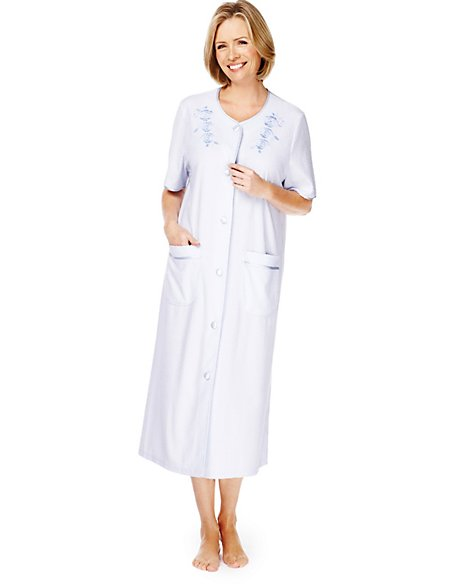 Towelling Floral Embroidered Dressing Gown