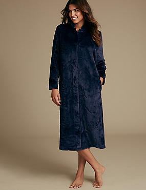 Shimmersoft™ Floral Embossed Dressing Gown, NAVY, catlanding