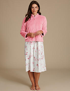 Shimmersoft™ Zipped Through Bed Jacket, PINK, catlanding