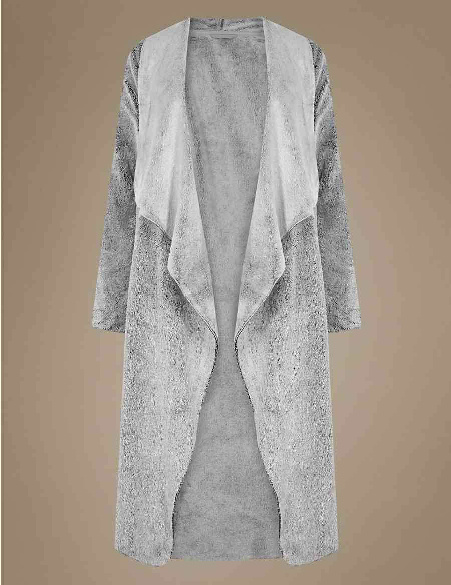Waterfall Marl Long Sleeve Dressing Gown  686738413
