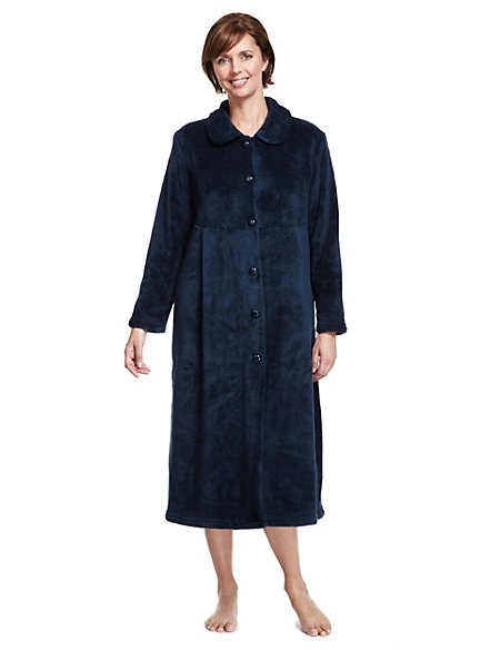 Button Through Fleece Dressing Gown | M&S Collection | M&S