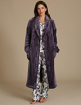 Shimmersoft™ Tie Front Dressing Gown, PURPLE, catlanding