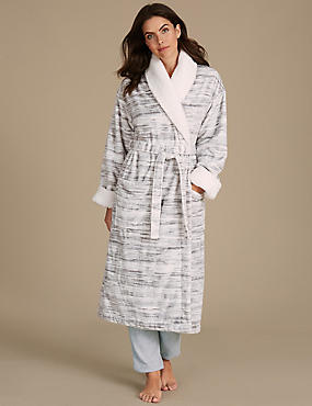 Shimmersoft™ Borg Trim Dressing Gown, GREY MIX, catlanding