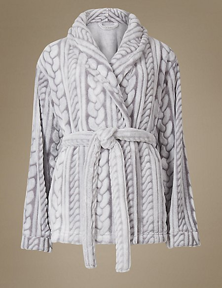 Tie Front Cable Knit Dressing Gown