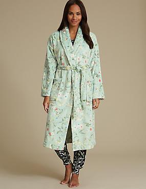 Shimmersoft™ Floral Print Dressing Gown, SAGE MIX, catlanding
